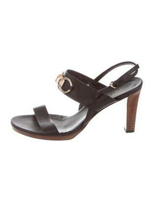 Gucci Horsebit Accent Leather Slingback Sandals Black