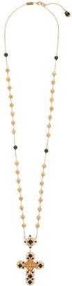 Dolce & Gabbana Beaded Crystal-embellished Cross-pendant Necklace - Gold