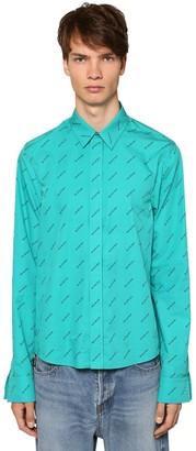 Balenciaga All Over Logo Fitted Cotton Shirt