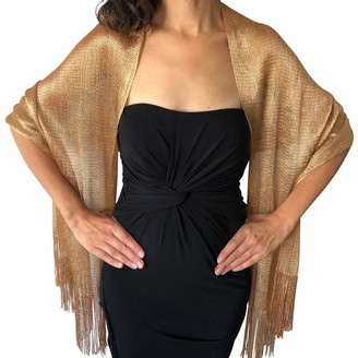 Central Chic Womens Shimmer Shawl Sparkly Scarf Wrap Weddings Bridal Proms Parties Balls (Black & Gold)