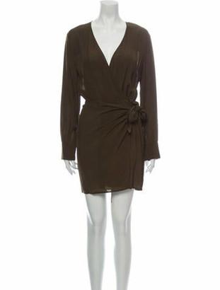 IRO Plunge Neckline Mini Dress Green