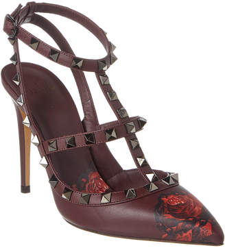 Valentino Undercover Rose Rockstud Caged 100 Leather Ankle Strap Pump