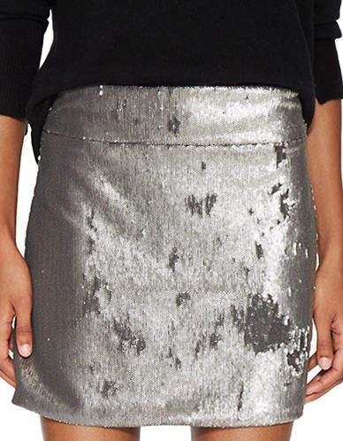 Halston Heritage Mini Sequined Skirt