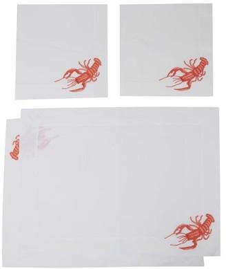 Loretta Caponi - Set Of Two Embroidered Linen Napkins And Placemats - Orange Multi