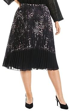 Estelle Plus Pleated Animal Print Skirt