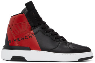 Givenchy Black and Red Wing High Top Sneakers