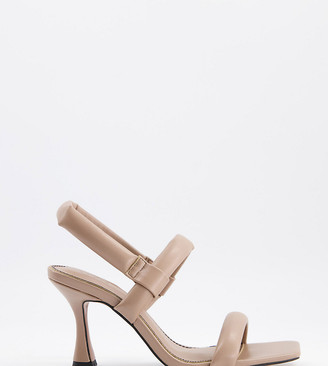 ASOS DESIGN Wide Fit Hickory padded mid-heeled sandals in mushroom