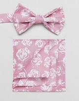 Asos Bow Tie And Pocket Square Pack In Pink Floral