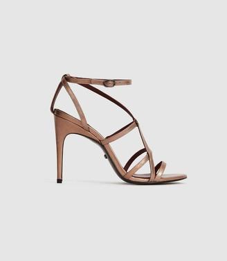 Reiss Dana Metallic - Metallic Strappy Sandals in Rose Gold