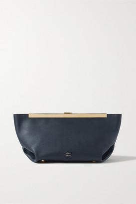 KHAITE Envelope Pleat Leather Clutch - Navy