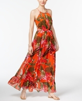 INC International Concepts Petite Printed Flounce Maxi Dress, Created for Macy's