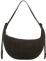 Elizabeth and James Zoe Woven Suede Hobo Bag, Black