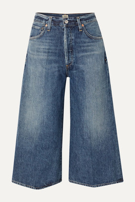 Citizens of Humanity Emily Cropped High-rise Wide-leg Jeans - Mid denim