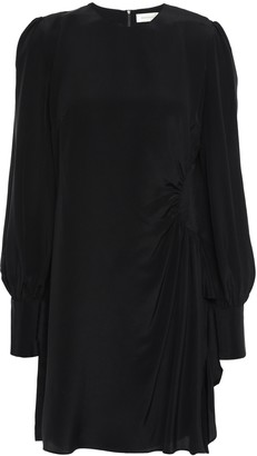 Zimmermann Ruched Ruffle-trimmed Silk Crepe De Chine Mini Dress