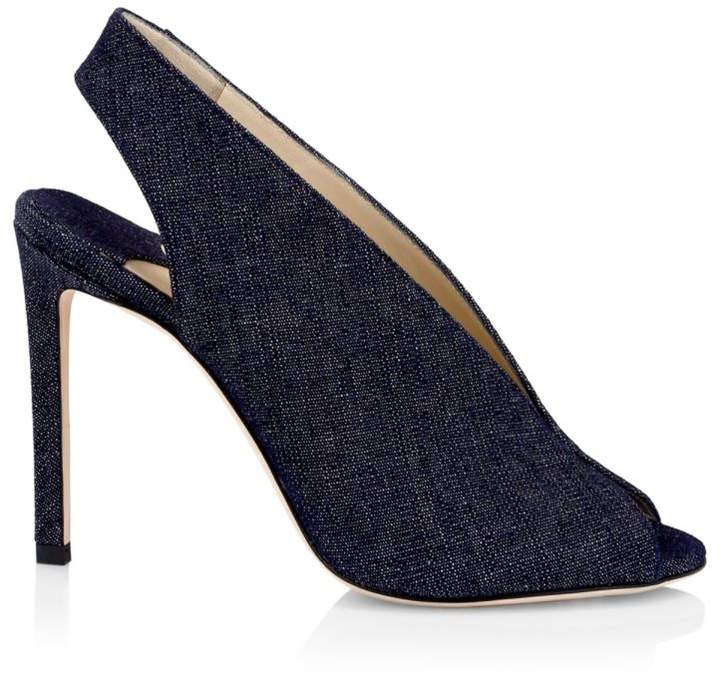 Jimmy Choo Shar Peep-Toe Denim Slingbacks