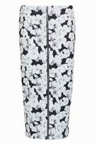 Select Fashion Fashion Womens Grey Mono Floral Zip Midi Skirt - size 6