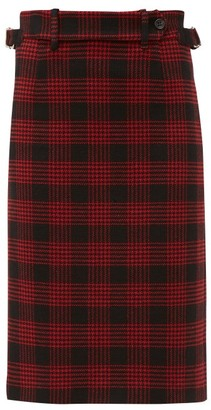 RED Valentino Prince Of Wales-checked Pencil Skirt - Womens - Black Red