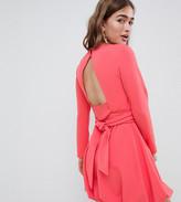 Asos DESIGN Petite mini shift dress with gathered hem and wrap belt