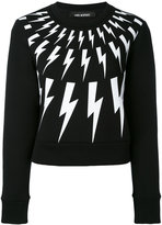 Neil Barrett lightning embroidered sweater - women - Cotton/Polyurethane/Spandex/Elastane/Viscose - XS