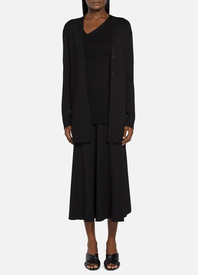 St. John Plaited Rib V-Neck Fully Fashioned Sweater Cardigan