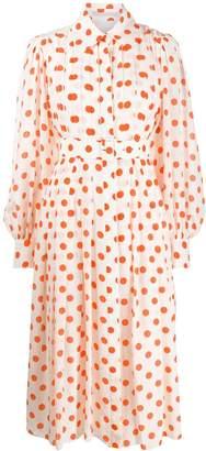 Emilia Wickstead Pleated Polka Dot Shirt Dress