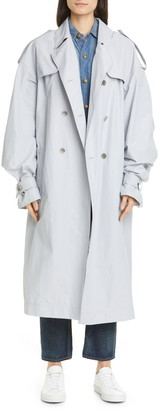 Mr & Mrs Italy Balloon Sleeve Tech Cotton Blend Trench Coat