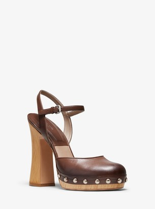 Michael Kors Gail Burnished Calf Leather Mary Jane Clog