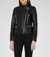 Reiss Erin Leather Biker Jacket