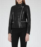 Reiss Erin Leather Biker Jacket