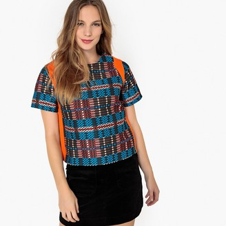 La Redoute Collections Short-Sleeved Multicoloured Jacquard Blouse