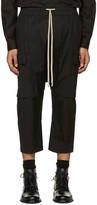 Rick Owens Black Cropped Drawstring Cargo Pants