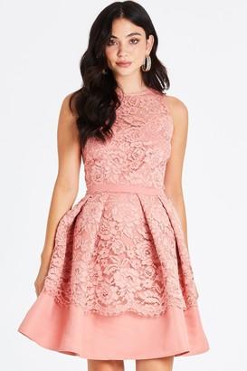 Little Mistress Miranda Orange Lace Mini Skater Dress