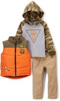 Rocawear Puffin Orange Vest, Camo Hoodie & Straight-Leg Pants Set - Toddler & Boys