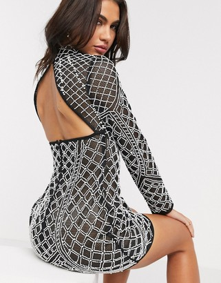 ASOS DESIGN sheer mesh and pearl all over embellished mini dress in black