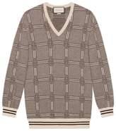 Jacquard wool cashmere sweater