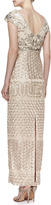 Sue Wong V-Neck Embroidered Gown, Champagne Combo