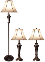 Stylecraft Aged Bronze Steel Set of 3: 2 Table Lamps and 1 Floor Lamp