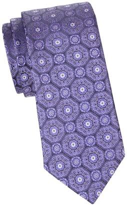 Canali Medallion-Embroidered Silk Tie