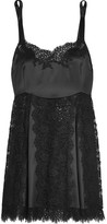 Dolce & Gabbana Lace And Silk-blend Satin Chemise - Black