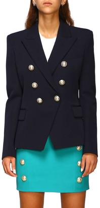 Balmain Jacket Double-breasted Wool Jacket With Jewel Buttons