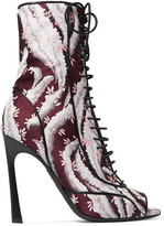 Giambattista Valli Leather-trimmed jacquard boots