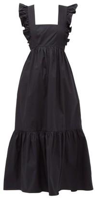 Self-Portrait Ruffled Cotton-poplin Midi Dress - Womens - Black