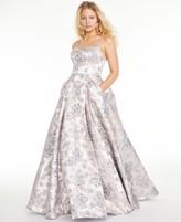 Blondie Nites Juniors' Floral Brocade Gown