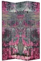Oriental Furniture Tall Double Sided Cosmic Debris Canvas Room Divider, 6-Feet, Pink