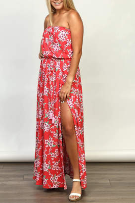 AAKAA Strapless Floral Maxi