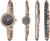 Anne Klein Women's AK/2240RGST Swarovski Crystal-Accented Rose Gold-Tone Bangle Watch and Bracelet Set