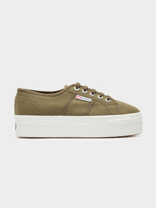 Superga 2790 Acotw Linea Up and Down Platform Sneakers in Military Green