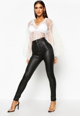 boohoo High Waist Matte Leather Look Skinny Pants