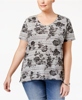Style&Co. Style & Co Plus Size Rose-Print T-Shirt, Only at Macy's