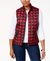 Karen Scott Petite Plaid Puffer Vest, Created for Macy's